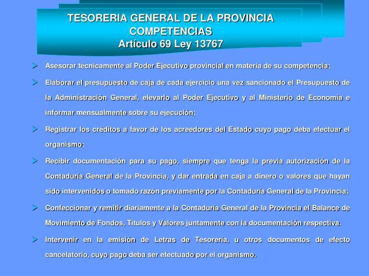 TESORERIA GENERAL DE LA PROVINCIA