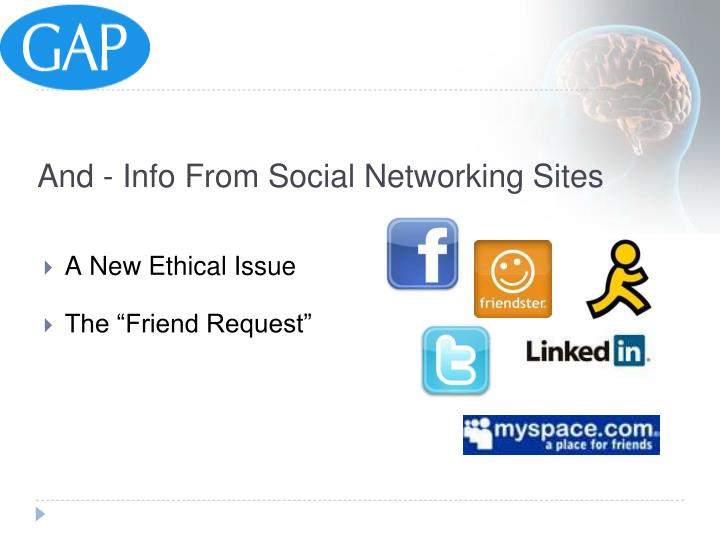 And - Info From Social Networking Sites