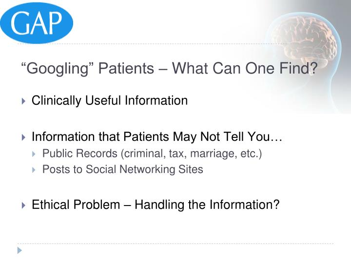 """""""Googling"""" Patients – What Can One Find?"""