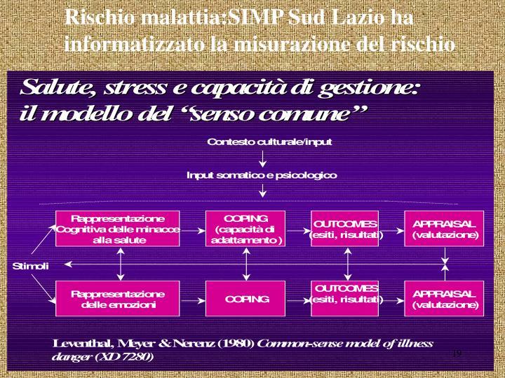 Rischio malattia:SIMP Sud Lazio ha informatizzato la misurazione del rischio