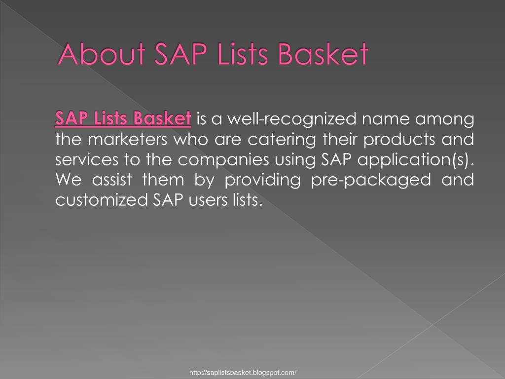 About SAP Lists Basket