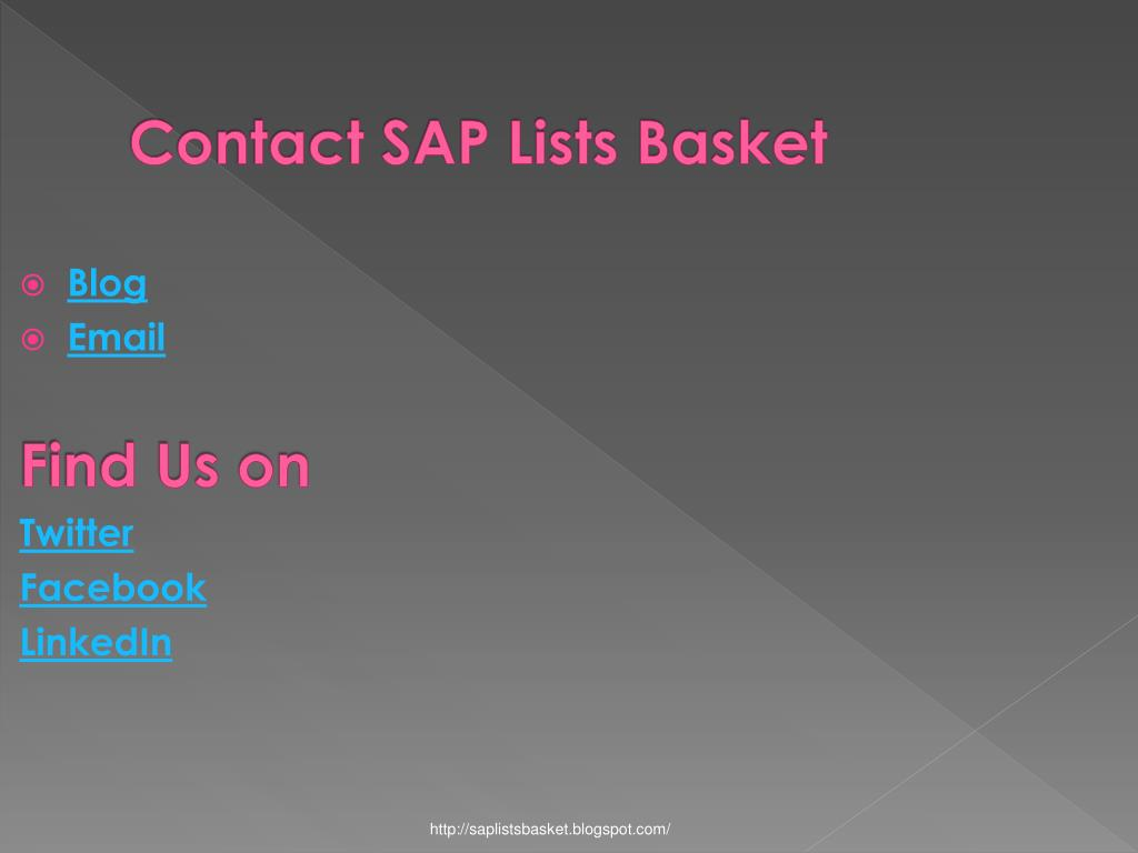 Contact SAP Lists Basket