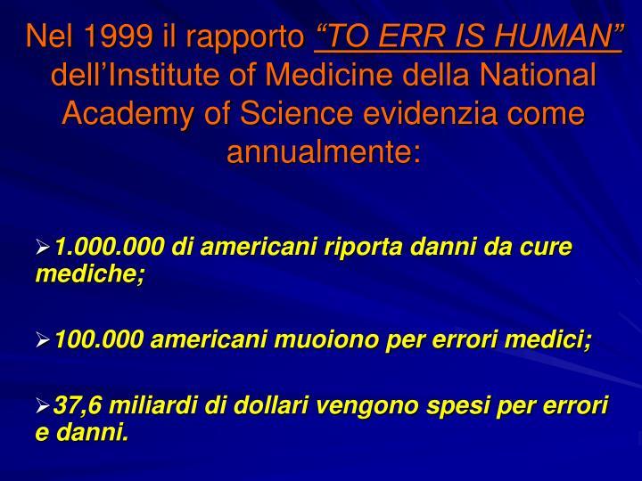 Nel 1999 il rapporto