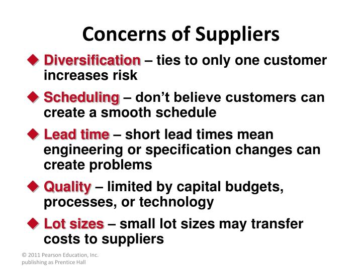 Concerns of Suppliers