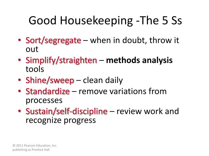 Good Housekeeping -The 5 Ss