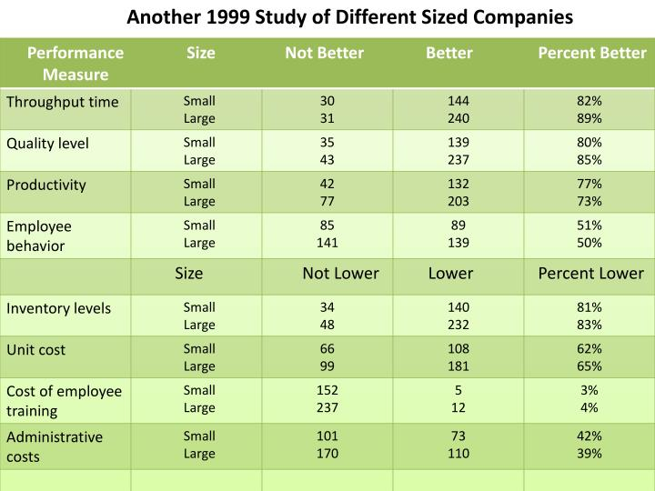 Another 1999 Study of Different Sized Companies