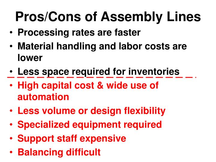 Pros/Cons of Assembly Lines