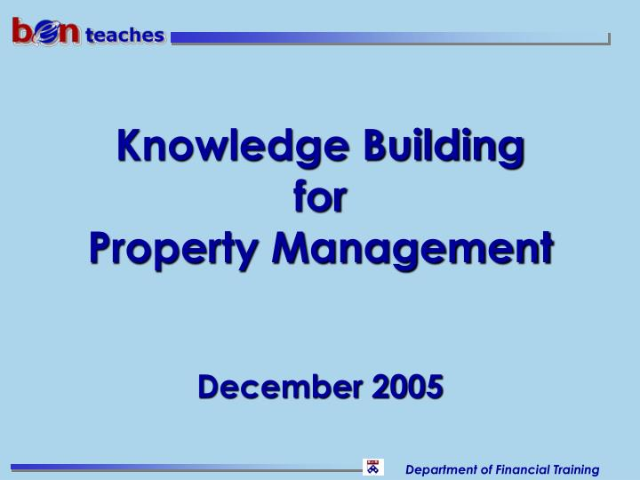 knowledge building for property management n.