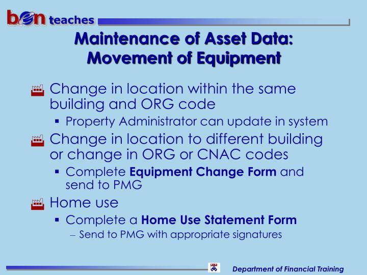 Maintenance of Asset Data: