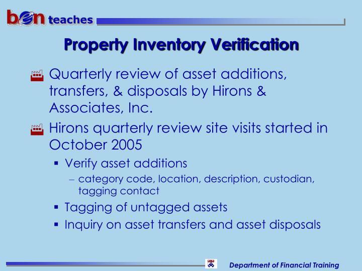 Property Inventory Verification