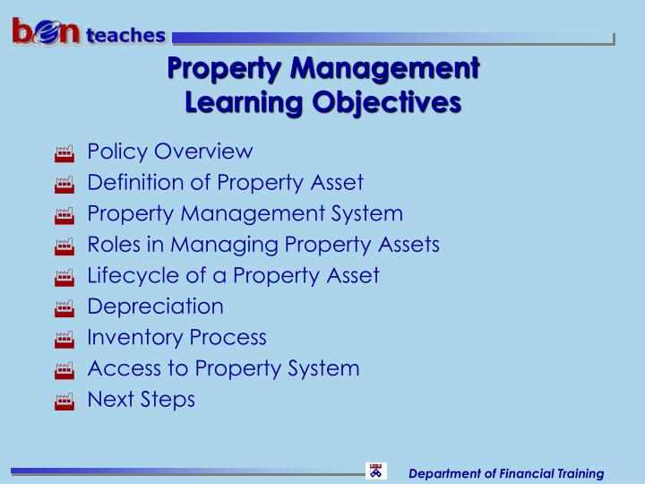 Property management learning objectives