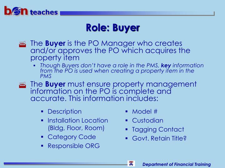 Role: Buyer