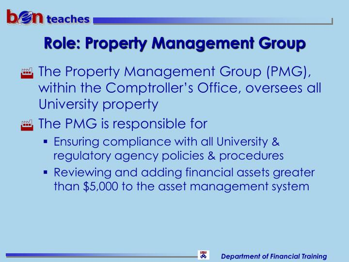 Role: Property Management Group