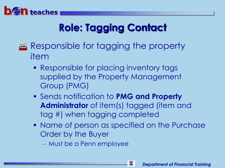Role: Tagging Contact