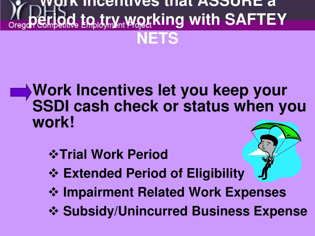 Work Incentives that ASSURE a period to try working with SAFTEY NETS