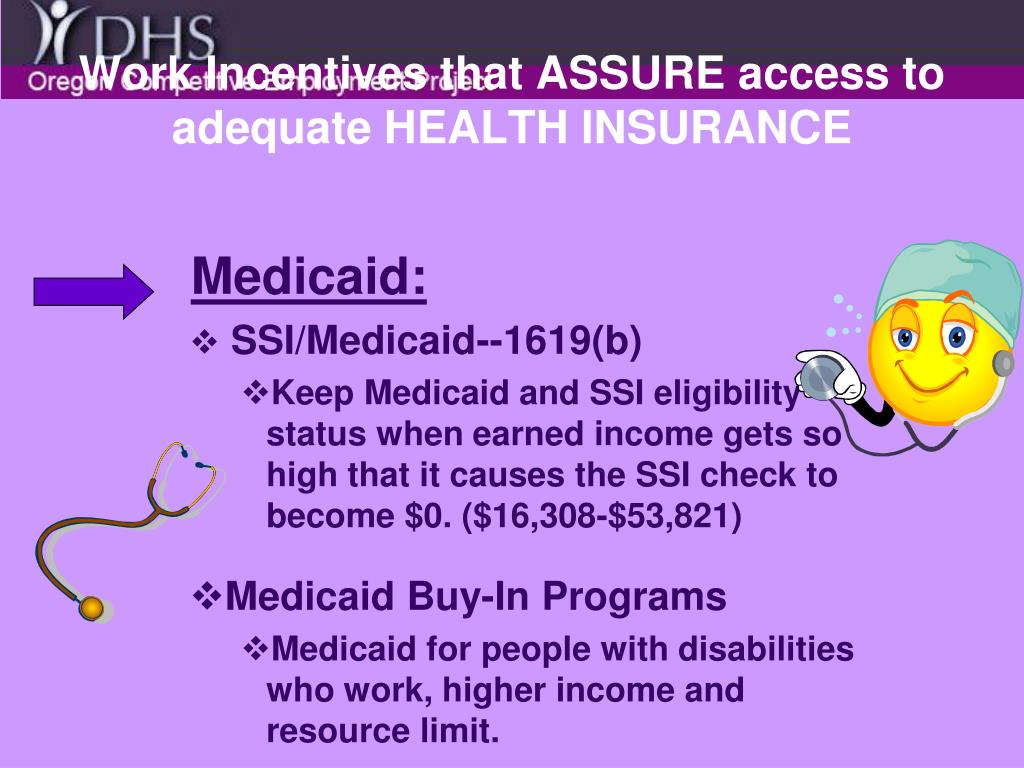 Work Incentives that ASSURE access to adequate HEALTH INSURANCE