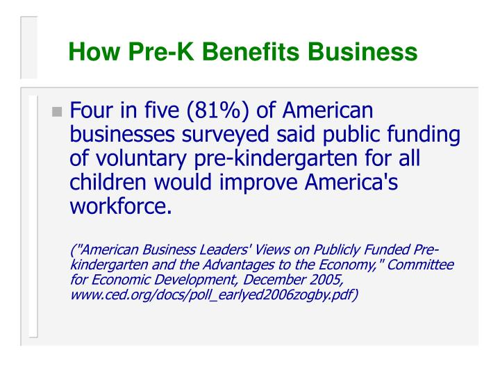 How Pre-K Benefits Business