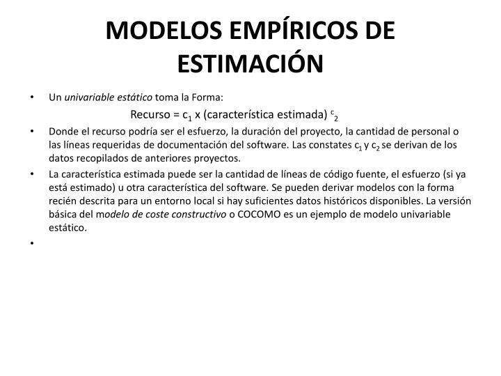 Modelos emp ricos de estimaci n1