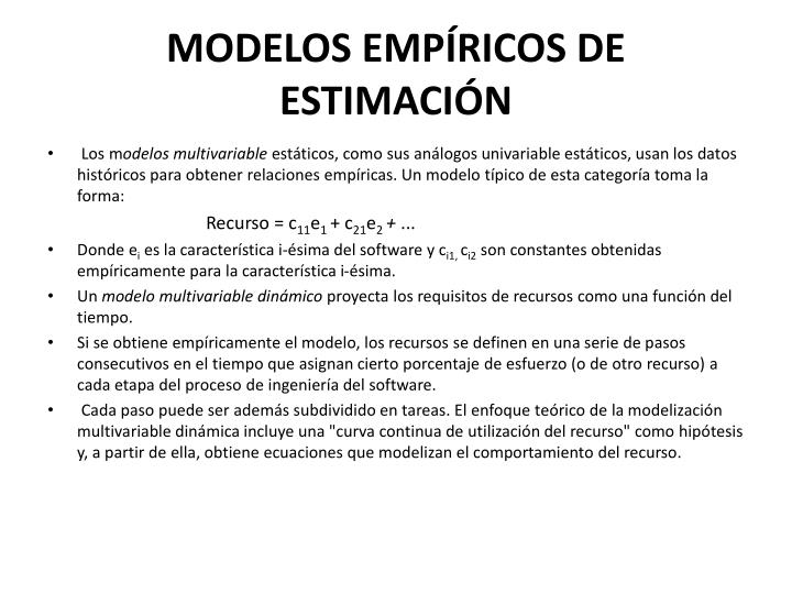 MODELOS EMPÍRICOS DE ESTIMACIÓN
