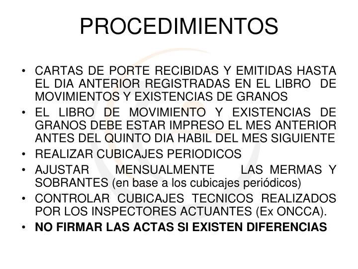 CARTAS DE PORTE RECIBIDAS Y EMITIDAS HASTA EL DIA ANTERIOR REGISTRADAS EN EL LIBRO  DE MOVIMIENTOS Y EXISTENCIAS DE GRANOS