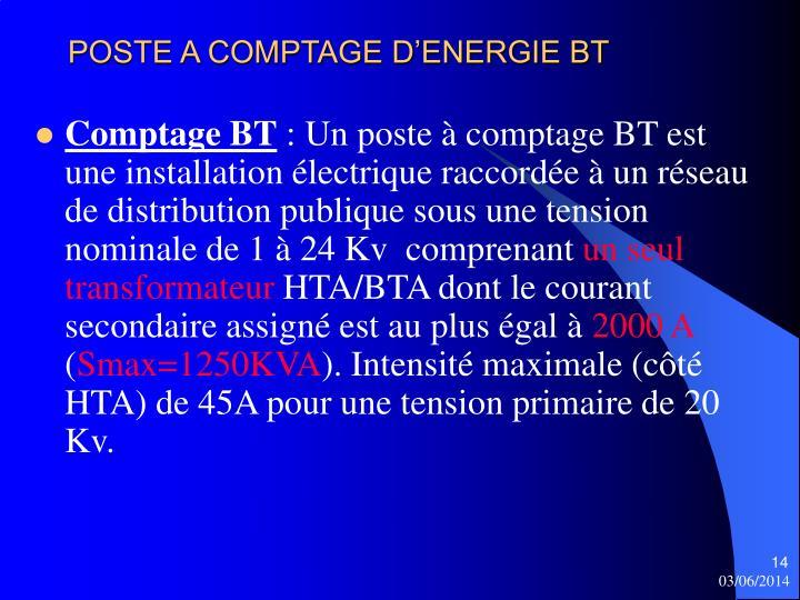 POSTE A COMPTAGE D'ENERGIE BT