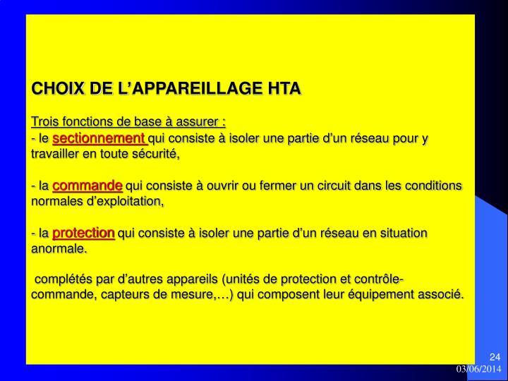 CHOIX DE L'APPAREILLAGE HTA