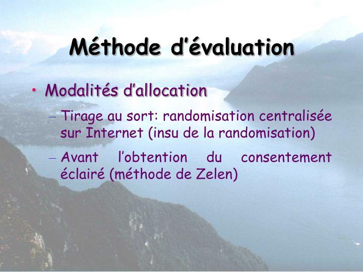 Méthode d'évaluation