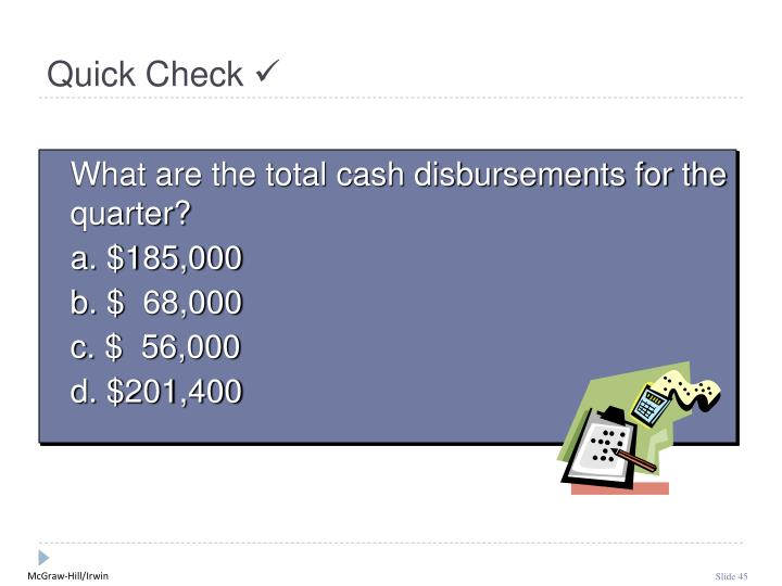 What are the total cash disbursements for the quarter?