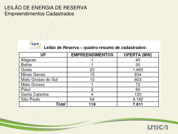 LEILÃO DE ENERGIA DE RESERVA