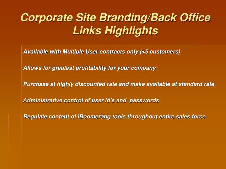 Corporate Site Branding/Back Office Links Highlights
