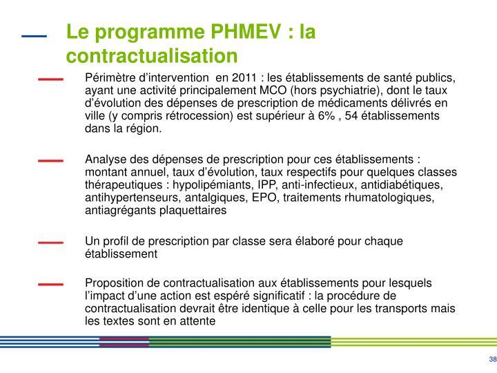 Le programme PHMEV : la contractualisation