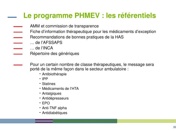 Le programme PHMEV : les référentiels