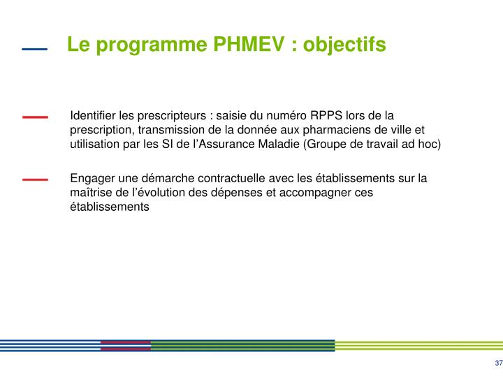 Le programme PHMEV : objectifs