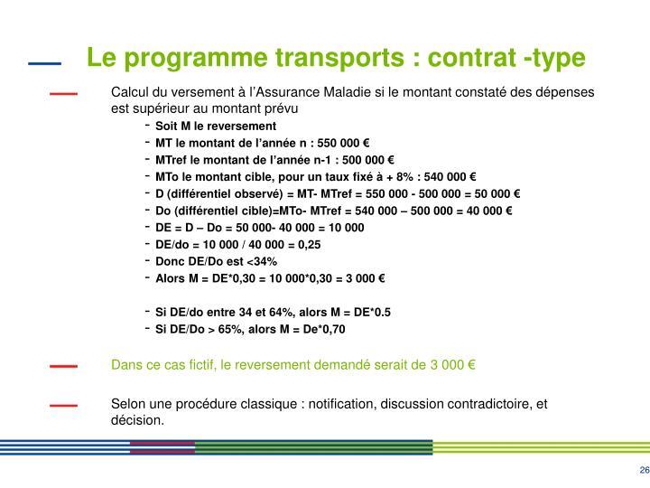 Le programme transports : contrat -type