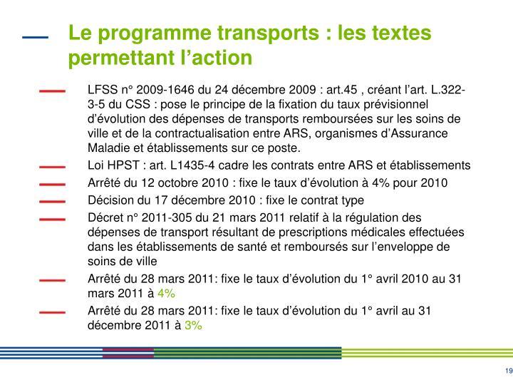 Le programme transports : les textes permettant l'action