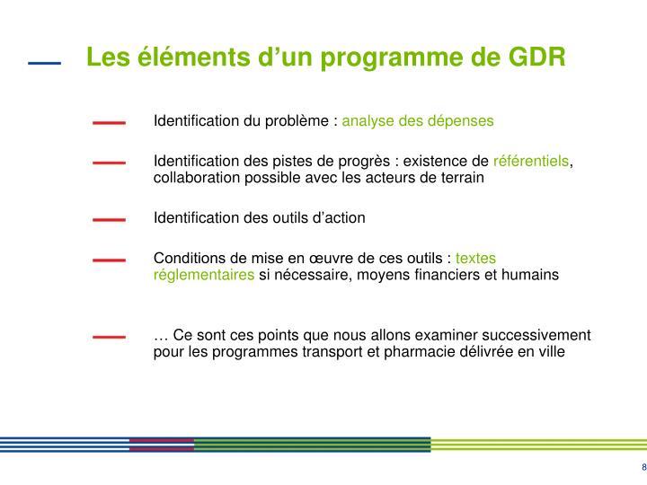 Les éléments d'un programme de GDR
