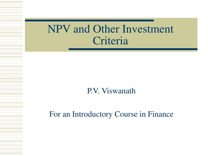 npv and other investment criteria n.