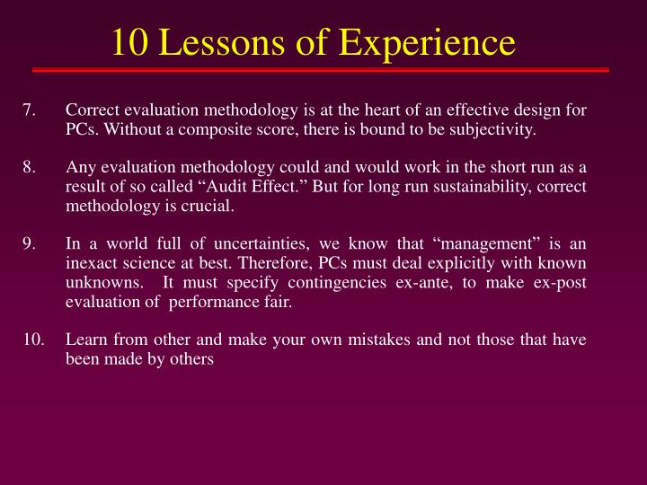 10 Lessons of Experience
