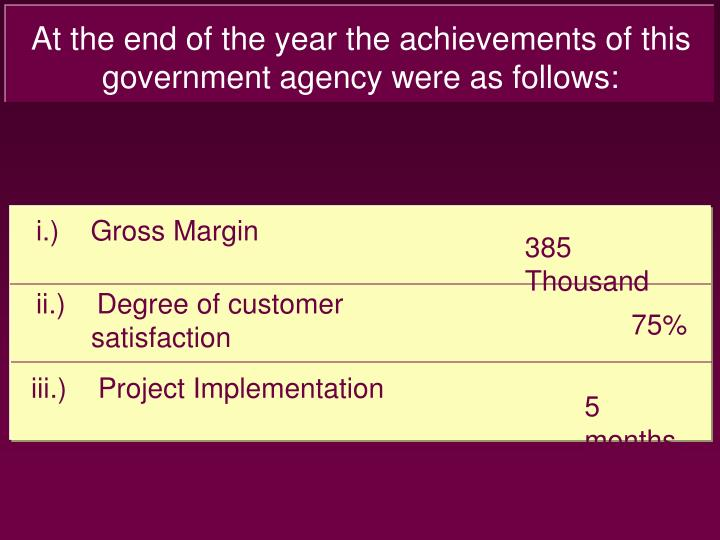 At the end of the year the achievements of this government agency were as follows: