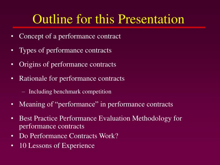 Outline for this presentation