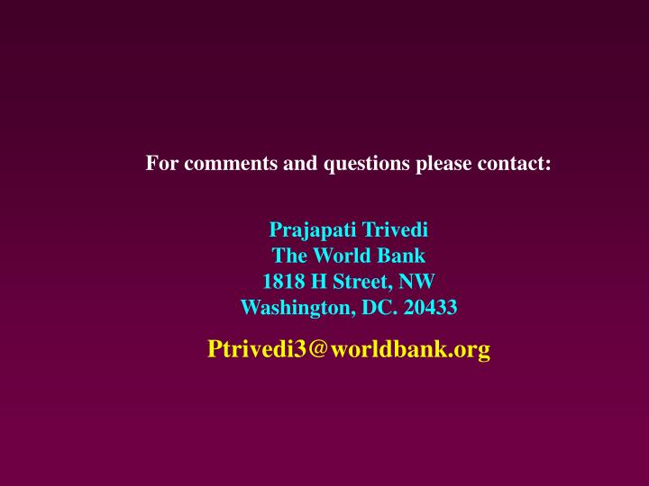 For comments and questions please contact: