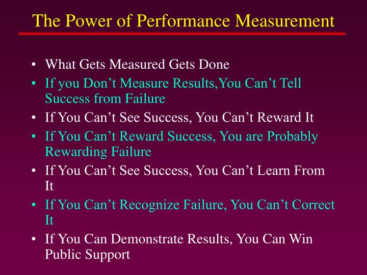The Power of Performance Measurement