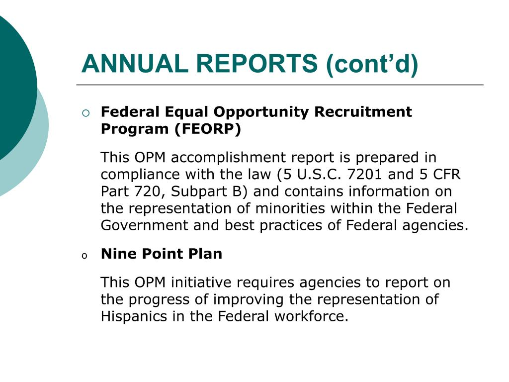ANNUAL REPORTS (cont'd)