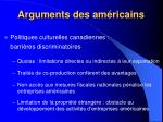 arguments des am ricains