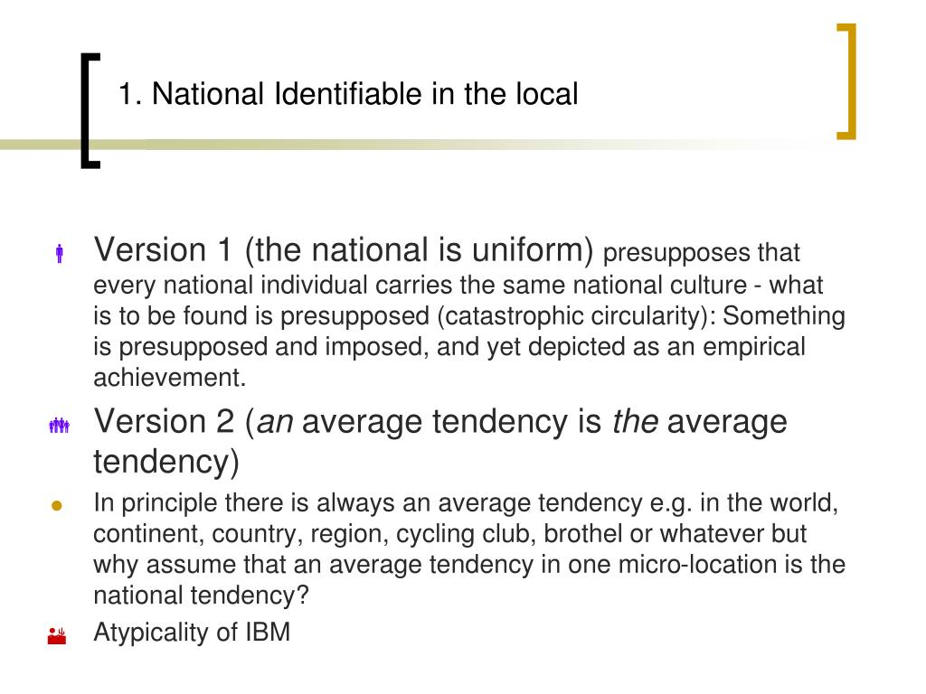 1. National Identifiable in the local