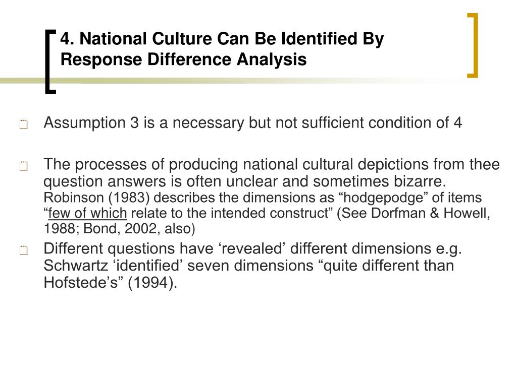 4. National Culture Can Be Identified By Response Difference Analysis