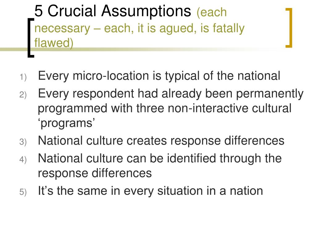 5 Crucial Assumptions
