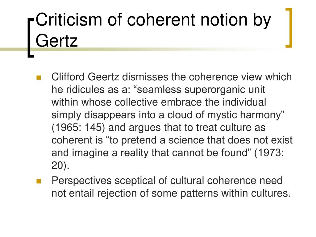Criticism of coherent notion by Gertz