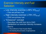 exercise intensity and fuel selection