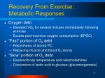 recovery from exercise metabolic responses